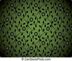 seamless, illustration, vektor, grön fond, blommig