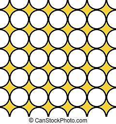 seamless illustration, white circles, black border
