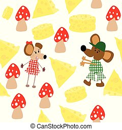 Seamless illustration with mice, cheese and mushroom;