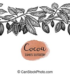 seamless, illustrazione, cocoa.