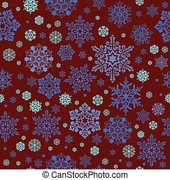 Seamless image of snowflakes on a dark red background
