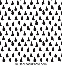 Seamless ink brush painted pattern with black triangles....
