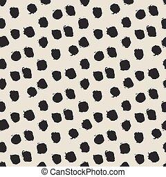 Seamless ink brush painted polka dot pattern. Vector ...