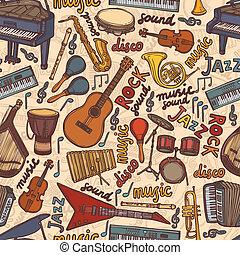 seamless, instrumentos, esboço, musical, padrão