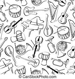 seamless, instrumentos musicais, padrão, fundo
