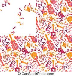 seamless, instrumentos, musical, colorido, patrón