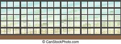 Seamless interior background with windows, panorama