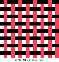 Seamless Intertwined Stripe Pattern. Vector Black and Red...