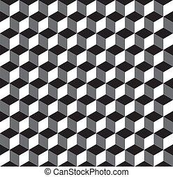 seamless, invertido, cubo, patrón