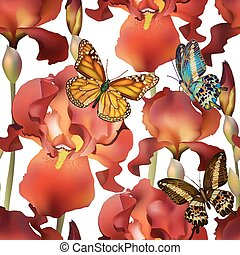 Seamless Irises Flowers Pattern with butterflies. Vector, EPS 10