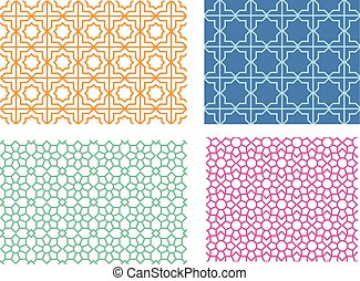 Seamless islamic pattern in linear style, vector
