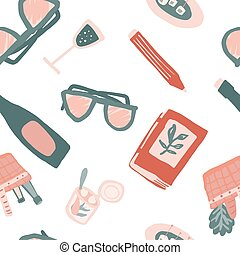 Seamless isolated pattern with elements for picnic in doodle style. Colorful ornament isolated on a white background.