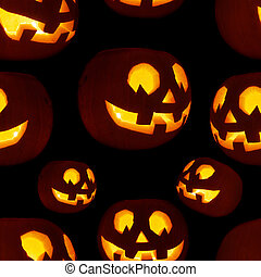 Seamless Jack-o'-lanterns pumpkin pattern - Seamless...