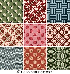 Seamless Japanese Traditional Pattern Set. Illustration ...