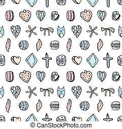 Seamless jewellery pattern with charms, beads, rings. Endless texture, white,black,pink and blue color.