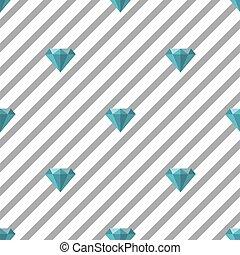seamless jewelry fashion pattern on grey stripe background with blue diamond