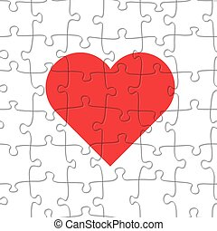 Seamless jigsaw puzzle game pattern. Heart illustration vector