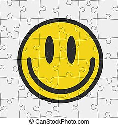 Seamless jigsaw puzzle game pattern. Smile emoticon illustration vector