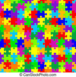 seamless jigsaw puzzle pattern - vector illustration of a...