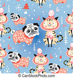 Seamless jolly pattern with lovers