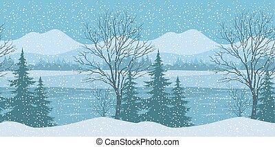 seamless, jul, landskab