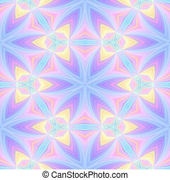Seamless kaleidoscopic pattern in pink, blue and yellow