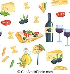 seamless, karikatur, wohnung, hintergrund, mit, italienesche, essen.