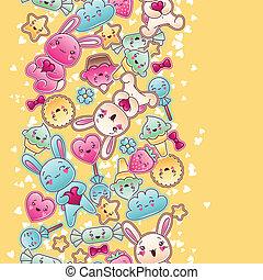 seamless, kawaii, 孩子, 圖案, 由于, 漂亮, doodles.