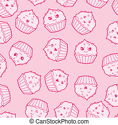 Seamless kawaii cartoon pattern with cute cupcakes.