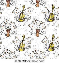 Seamless kawaii cat characters with a drum and guitar pattern