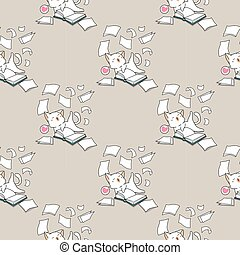 Seamless kawaii cat is having fun with a book pattern