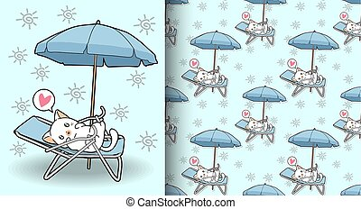 Seamless kawaii cat on cradle with a outdoor umbrella pattern