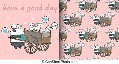 Seamless kawaii cats and panda with freight vehicle pattern