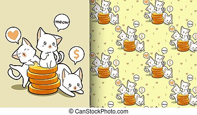 Seamless kawaii cats with a golden coins pattern