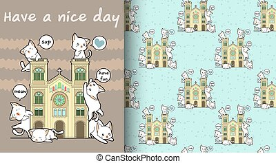 Seamless kawaii cats with a historic chapel pattern
