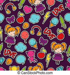 Seamless kawaii child pattern with cute doodles.