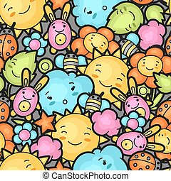 Seamless kawaii child pattern with cute doodles. Spring collection of cheerful cartoon characters sun, cloud, flower, leaf, beetles and decorative objects.
