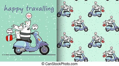 Seamless kawaii panda and cats with a motorcycle in holiday