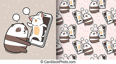 Seamless kawaii panda is talking with a cat via smart phone pattern