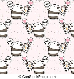 Seamless kawaii panda is talking with cat via face time of smart phone pattern