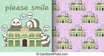 Seamless kawaii pandas with a historic building pattern