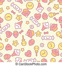 Seamless kawaii pattern with cute cakes.