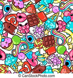 Seamless kawaii pattern with sweets and candies. Crazy sweet...