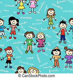 Seamless cute kid cartoon characters pattern with friendship related text in various languages