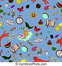 Seamless kids pattern with toys