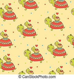 Seamless kids pattern with turtles.