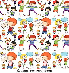 seamless, kinder, lesende , und, lernen