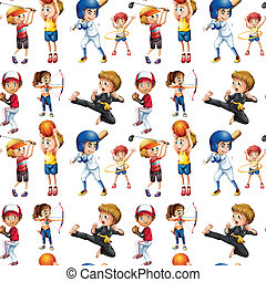 seamless, kinderen, en, sporten