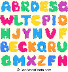 seamless, kinderen, helder, alfabet, model