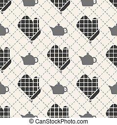 seamless kitchen gloves pattern background